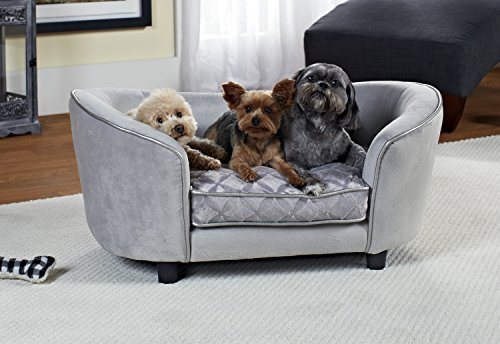 WohnDirect Large Designer Pet Sofa Bed for Dogs & Cats | Durable, Robust & Easy to Clean | Comfortable Soft Cushion for Your Dog and Practical Toy Storage Bag for Toys | 86x39x58cm