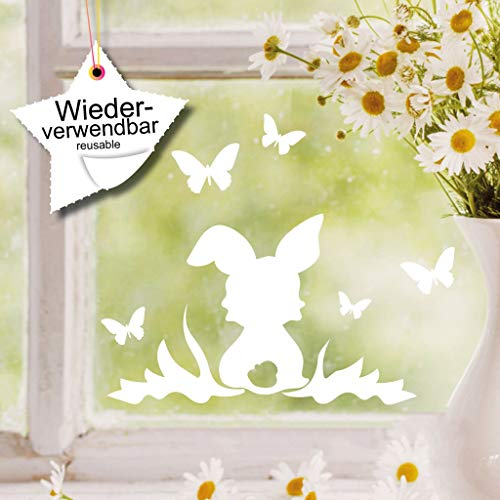 Wandtattoo-Loft Fenstersticker Häschen auf der Wiese mit Schmetterlinge WIEDERVERWENDBAR