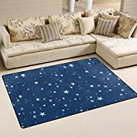 TIZORAX Christmas Stars Navy Blue Area Rug Anti-Skid Shaggy Carpet Floor Mat for Living Room Nursery Kitchen 31 x 20 inches