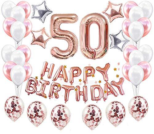 JeVenis 38 STÜCKE Rose Gold 50. Geburtstag Dekorationen Party Supplies Nummer 50 Geburtstag Luftballons Alles Gute zum Geburtstag Ballon Banner 50 Geburtstag Dekorationen für Sie (Ihr 50-geburtstag-dekorationen Für)