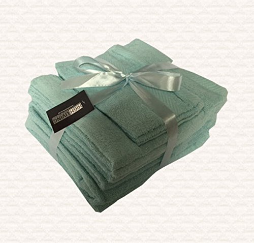 Towel Bale 10 Piece Set 500 GSM Egyptian Cotton by Highliving (Duck Egg)