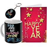Sky Trends New Year Gifts and Merry 2018 Gifts Printed Coffee Mug with Printed Greeting Card and Key Chain for New Year Gifts for Friend Girlfriend Boy Friend 020