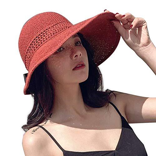 MongGood Frühling Sommer Schirme Kappe Faltbar Breit Groß Kanten Strand Sommerhut Stroh Hut für Damen - Rot