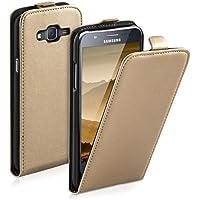 kwmobile Funda para Samsung Galaxy J5 (2015) - Flip Case para móvil en cuero sintético - Cover plegable dorado