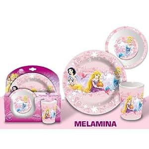 Set 3 Pieces Melamine Princesse Disney Assiette Verre Bol Enfant Fille