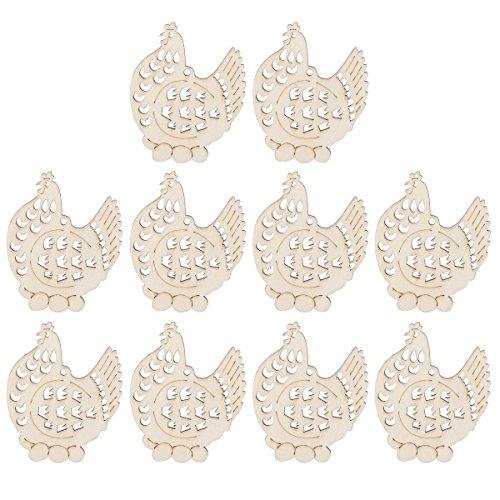 PIXNOR Adornos de Pascua madera colgante decoración de gallinas con cuerda paquete de 10