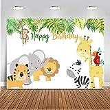 Mehofoto Cute Animal Birthday Backdrop 7x5ft Vinyl Cute Little Tiger Lion Jirafa y cebra hojas verdes Fondo de fotografía