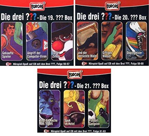 Die Drei ??? (Fragezeichen) - Folgen 55-63 (3 CD Box 19+20+21) im Set - Deutsche Originalware [9 CDs]