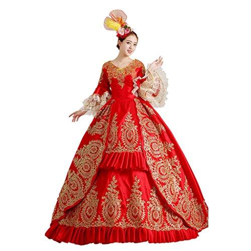 Kostüm Paket Fedex (Cosplayitem Damen Mädchen Lagerter Gothic viktorianischen Kleid Kostüm Abendkleid Palace Maskerade Königin Prinzessin)