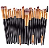 Tongshi 20 pcs/set maquillaje herramientas maquillaje neceser Kit lana hacer arriba cepillo conjunto (Negro)