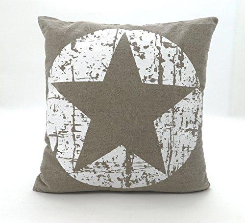 Dekokissen Maritim Vintage Sterne in beige weiß mit Füllung & Reißverschluß 45x45 cm hochwertig aus 60% Baumwolle 40% Leinen STERN Kissen Typ384