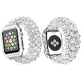 Qianyou Apple Watch Armband mit Hülle,38mm Perlenarmband Apple Watch Elastisches Uhrenarmband Armbänder mit Edelstahl Case für Apple Watch Series 1 Series 2 Series 3 Sport Edition Nike+,Weiß