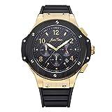 jeweltimes Carbon cadran montre bracelet homme chronographe chronomètre à quartz analogique Or