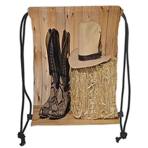 Fashion Printed Drawstring Backpacks Bags,Western Decor,Snake Skin Cowboy Boots Timber Planks in Barn with Hay Old West Austin Texas,Cream Brown Soft Satin,5 Liter Capacity,Adjustable String Closu -