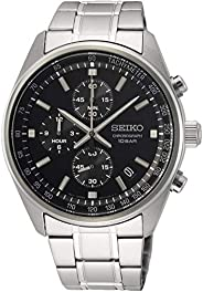Seiko Chronograph with Tachymeter Black Dial Stainless Steel Watch, SSB379P1