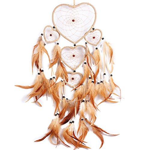 H.W.T Atrapasueños Hecho a Mano, Diseño Tradicional de Atrapasueños, Forma de Corazón, Estilo de Plumas, Decoración para Colgar en la Pared