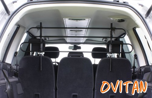 OVITAN Hundegitter XL fürs Auto 4 Streben universal zur Befestigung an den Kopfstützen der Rücksitzbank - für alle Automarken geeignet - Modell: H04XL