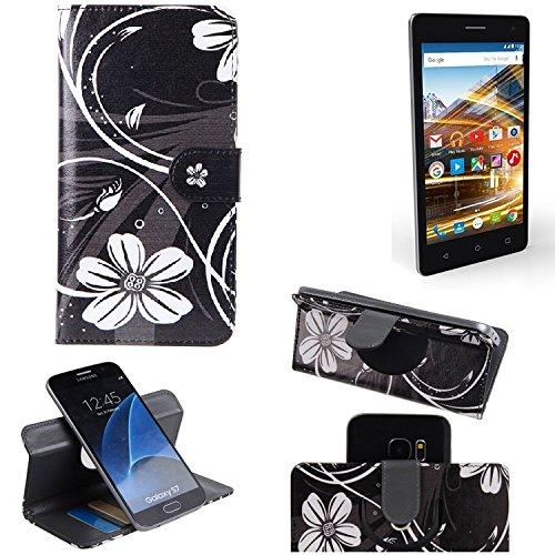K-S-Trade® Schutzhülle Für Archos 50d Neon Hülle 360° Wallet Case Schutz Hülle ''Flowers'' Smartphone Flip Cover Flipstyle Tasche Handyhülle Schwarz-weiß 1x