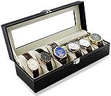Estuche para guardar 6 relojes - Negro 30 x 12 x 8 cm - Reloj Presentación Organizador del reloj - Grinscard