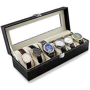 Uhrenkoffer zur Aufbewahrung von 6 Uhren – Schwarz 30 x 12 x 8 cm – Armbanduhr Präsentation Uhr Organizer – Grinscard