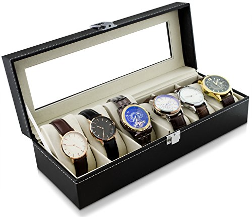 Uhrenkoffer zur Aufbewahrung von 6 Uhren - Schwarz 30 x 12 x 8 cm - Armbanduhr Präsentation Uhr Organizer - Grinscard
