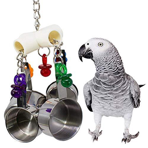 ASOSMOS Vogelkäfig Spielzeug Hängende Edelstahl Tasse Glocke für Papageien Kakadu Conure