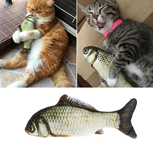 YFairy Katzenspielzeug - Plüschfisch 3D Weich Haustierzubehör Katze Ausgestopft Minze Interaktiv Kätzchen Spielzeug Kauen