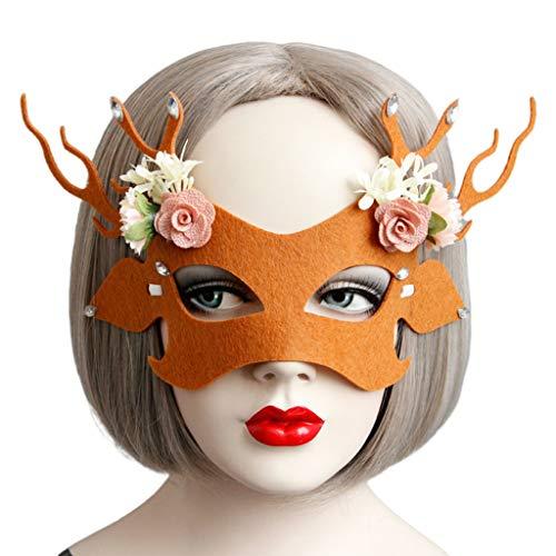 Lhuaguo Máscara Mujeres y niñas, máscara de crismas de Medio Rostro para Fiesta de máscaras de Ciervos