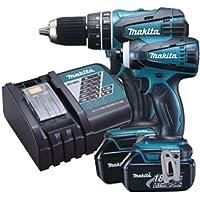 Makita DLX2012 18V Li-ione 2 pezzi Combi Drill + Impact Driver Kit Cordless (2 x 3Ah Batteria) - 18v Cordless Drill Set