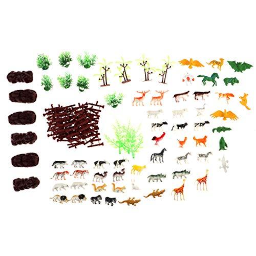 FLAMEER 94tlg / Set Mini Tiere Miniatur Tierwelt Baum Tiermodelle Spielfiguren für Kinder (Miniatur-wald Tiere)