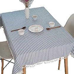 Meiosuns Mantel a Rayas Mantel a Rayas Mantel de algodón Simple Uso Interior y al Aire Libre (Rayas Azules/Blancas, 100 x 140 cm)