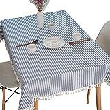 Meiosuns Gestreifte Tischläufer Fringe Tischläufer Einfache und Elegante Heimtextilien für Den Innen- und Außenbereich (Blaue/weiße Streifen, 90 * 90cm)