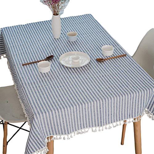 Meiosuns Gestreifte Tischläufer Fringe Tischläufer Einfache und Elegante Heimtextilien für Den Innen- und Außenbereich (Blaue/weiße Streifen, 140 * 220cm)