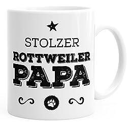 MoonWorks Kaffee-Tasse Stolzer Rottweiler Papa Rottweiler Besitzer Hundebesitzer weiß Unisize