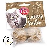 PRETTY KITTY 2x Katzenminze Ball XXL (ø4cm) - Premium Catnip Bälle bestehend aus 100% natürlicher Katzenminze - aufregendes Spielzeug für Katzen - 2 Stück