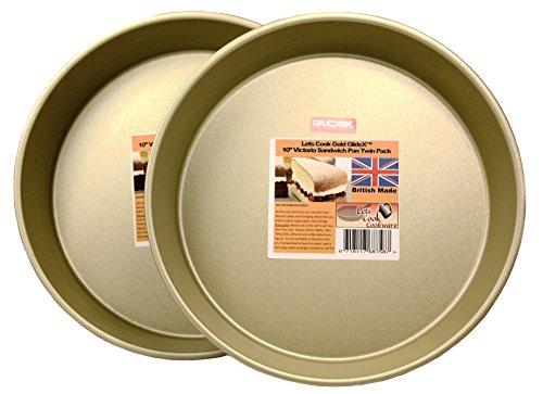 LETS Cook 10'Victoria Sandwich sartenes, 3latas para tartas, 2unidades, base fija, fabricado en Reino Unido con oro GlideX antiadherente TM
