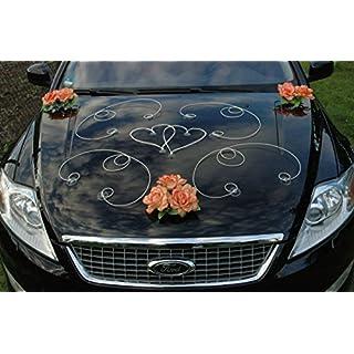 DEKOR Auto Schmuck Braut Paar Rose Deko Dekoration Autoschmuck Hochzeit Car Auto Wedding Deko PKW (Orange / Weiß)