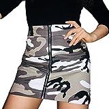 StarTreene Damen Rock Camouflage Muster Enger Hüftsrock Zipper Mini Röcke Retro Sommerrock Bleistiftrock Freizeit Streetwear