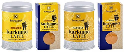 Sonnentor Kurkuma Latte Set - 2 Sorten: Ingwer und Vanille je in der Dose und als Nachfüller (4x 60g) (bio, vegan) Golden Milk - Ayurvedische Goldene Milch Set