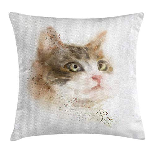 dingjiakemao Cat Decor Throw Pillow Cushion Cover by, Vintage Blurry Kitten Painting Domestic Cute Furry Animal Kitty Pet Art Image, Decorative Square Accent Pillow Case, 18 X 18 Inches, Tan Beige