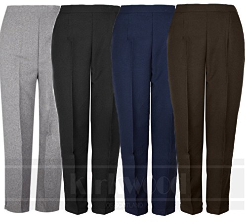 0ddd00ba6 Kirkwood Of Scotland Ladies Womens Half Elasticated Trouser Stretch Waist  Casual Office Work Formal Trousers Pants with Pockets Plus Big Size 10-24