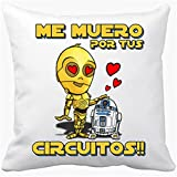 Cojín con relleno Star Wars C3P0 y RD2D2 regalo friki de amor - Blanco, 35 x 35 cm