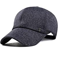 Elwow da uomo in cotone e lino Tempo libero Snapback Baseball Cap, Fashion con visiera cappellino con visiera, Deep Grey