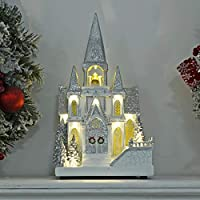 Mr Crimbo Rotating Christmas Church Snow Scene Light Up Glitter Decoration 37cm