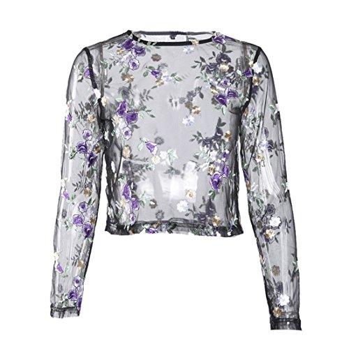Aelegant Damen Sommer Vintage Transparent Top Netz Shirt Tüll Kurzarm Tunika Mesh Durchsichtiges Oberteil mit Rose Stickerei Clubwear (EU 38/Herstellergröße M, Violett) -