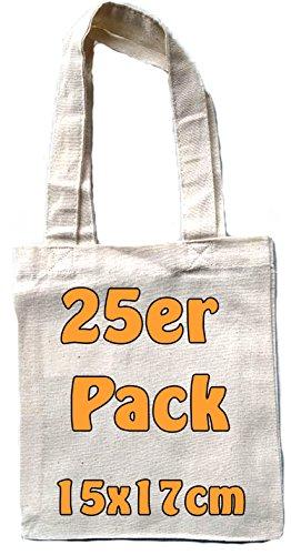 Kleine Baumwolltasche unbedruckt 15x17 cm als kleine Geschenktasche zur Aufbewahrung oder zum Bemalen für Kinder 100% Baumwolle Stofftasche Jutebeutel 25 Stück