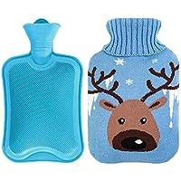 800ML Netter Hirsch Klassisch Gummi Kalt oder Heiße Wasserflasche mit Strickbezug - Blau preisvergleich bei billige-tabletten.eu