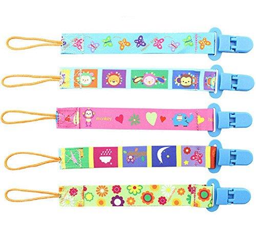 5 Stück Universal Schnullerkette mit Clip für Mädchen und Jungen, beidseitig Bedruckt, modernes Design