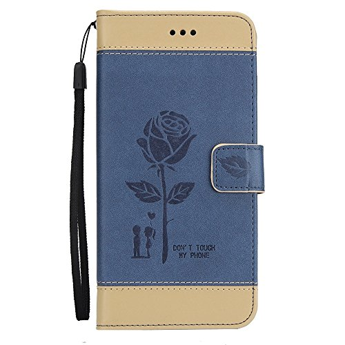 EKINHUI Case Cover Gemischte Farben Rose Blume matt Premium PU Leder Brieftasche Stand Case Cover mit Lanyard & Card Slots für Samsung Galaxy S8 Plus ( Color : Red ) Blue