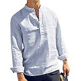 Fannyfuny Polo Shirt Bluse Hemd Herren Poloshirt Langarm-Hemd für Männer Gestreift Patchwork Tops Blouses Sommertop für Sport Freizeit und Arbeit Casual Slim-Fit Langarm-Hemden mit Knopf Cotton Linen